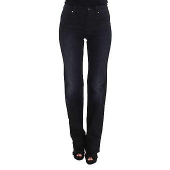 Blue Cotton Blend Slim Fit Bootcut Jeans -- SIG3052293