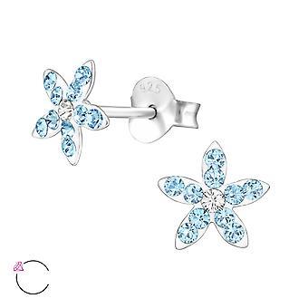 Flower - 925 Sterling Silver Crystal Ear Studs - W32815x