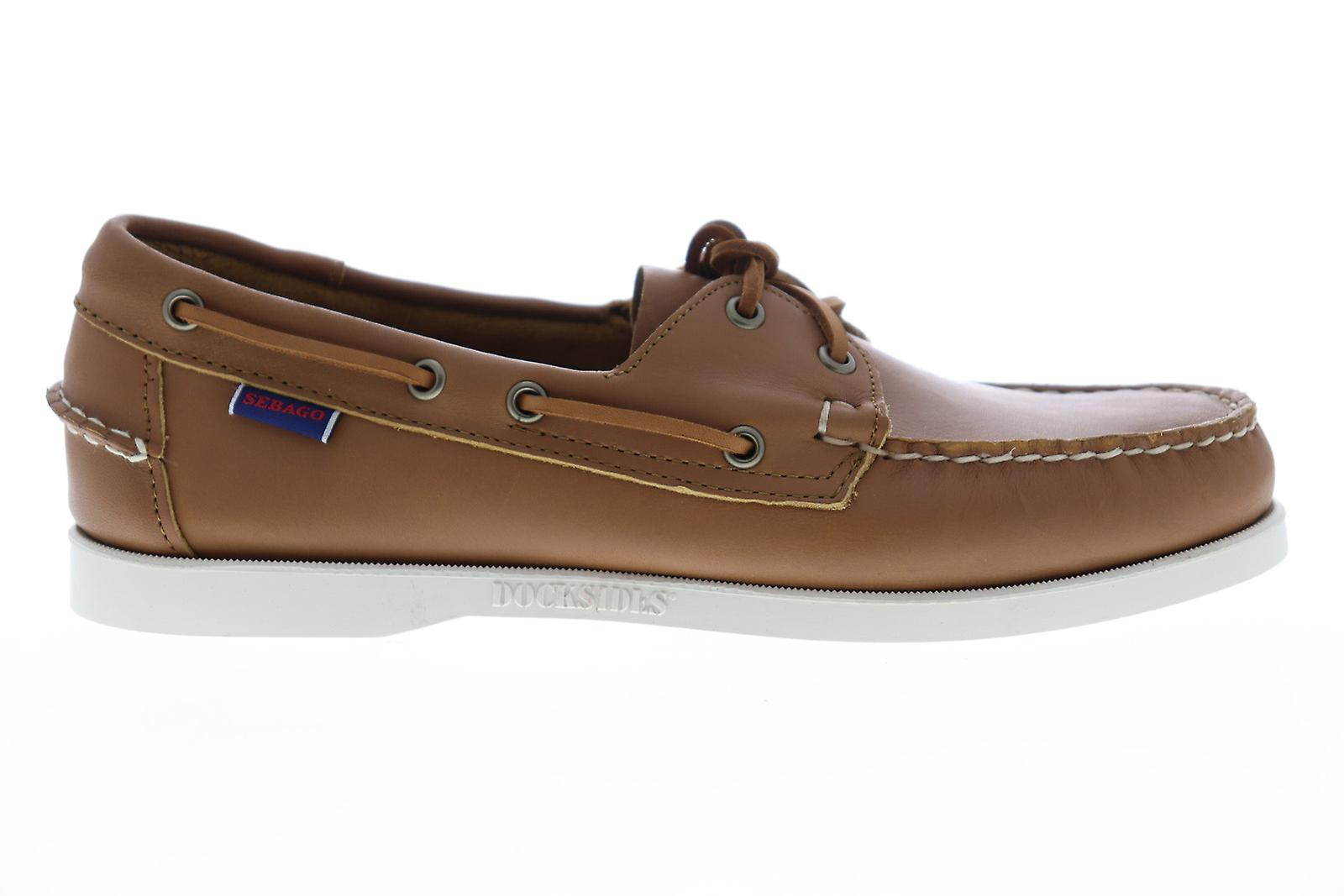 Sebago Portland Docksides Mens Brown Leather Casual Boat Shoes