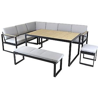 Charles Bentley Black Square Legs Strong Extrusion Aluminium Corner Sofa Lounge Dining Set with 10cm Thick Cushion Polyester Industrial Style