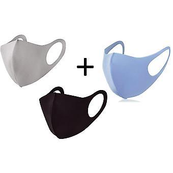 Tvättbar fashion mask 3-pack, svart, beige & ljusblå munskydd