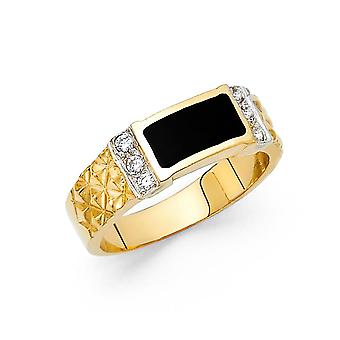 14k Yellow Gold Simulated Onyx Ring Size 10 Jewelry Gifts for Women - 4.4 Grams