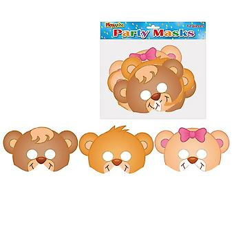 12 Teddy Bear Printed Card Masks for Kids Parties