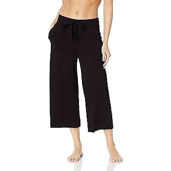 Mae Women's Standard Supersoft French Terry Cropped Lounge Pant, Black X-Large