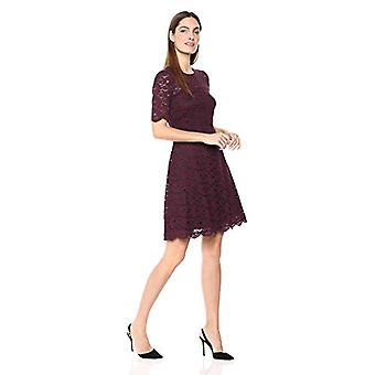 Lark & Ro Women's Half Sleeve Lace Crewneck Fit and Flare Dress, Burgundy/Bla...