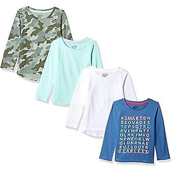 Brand - Spotted Zebra Girls' Little Kid 4-Pack Long-Sleeve T-Shirts, B...