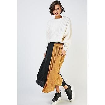 Polka Dot Contrast Pleated Skirt