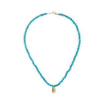 Collier maritim kauri et turquoise pierres précieuses 925 argent ou plaqué or