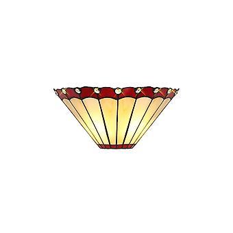 Luminosa Lighting - Tiffany Wandleuchte, 2 x E14, Rot, Kristall