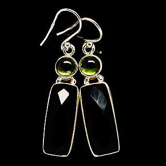 Musta Onyx, Peridot korvakorut 1 3/4&&;(925 Sterling Silver) - Käsintehty Boho Vintage korut EARR406070