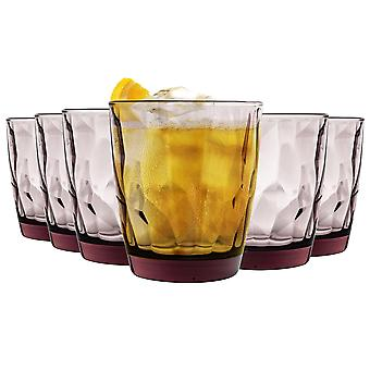 Bormioli Rocco Diamond Double Old Fashioned Tumbler Glasses Set - 390ml - Purple - Pack of 12