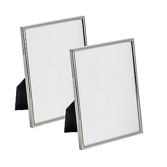 Nicola Spring Metal 6x8 (A5) Photo Frame. Silver Colour - Standing - Pack Of 2