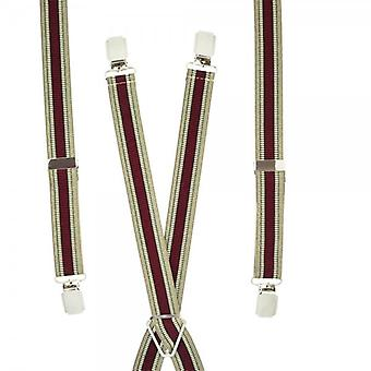 Gravatas Planet Wine Red, Bege & Gold Vertical Striped Skinny Trouser Braces