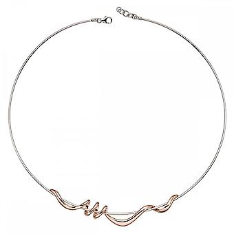 Elements Silver Rose Gold Plated Twist Necklace N4180