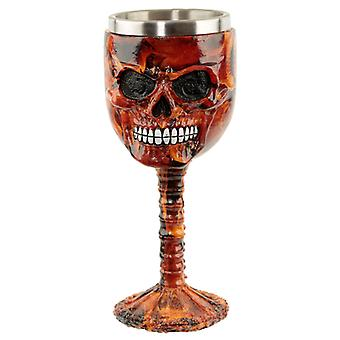 Collectable Decorative Dark Flames Marble Skull Goblet