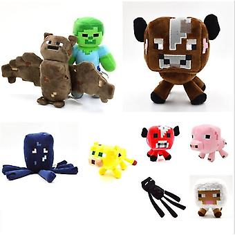 Minecraft Fyllda Plysch, Toy Doll Zombie Bat Squid -baby Sheep Kid (vit)