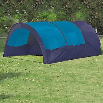 vidaXL خيمة التخييم 6 الناس النسيج الأزرق / الأزرق الداكن