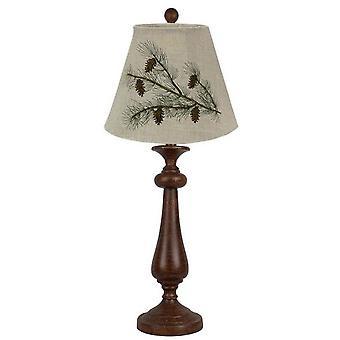 מנורת שולחן מסורתית חומה במצוקה עם גוון רקום אצטרובל