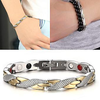 Fashion Magnetic Therapy Single Row Armband voor heren Roestvrij Staal ZilverGoud