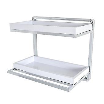 Danya B. Accesorios de baño y Dcor Wall Mount Unidad de estanterías cromadas de 2 niveles con toallero y bandejas extraíbles blancas