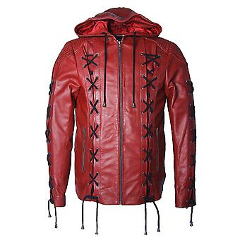 Arrow arsenal suit hooded genuine leather jacket