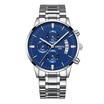 Nibosi Steel Watch for Men - Luxury Strap Anologue Movement for Men Quartz Blue