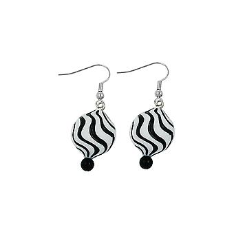 Hook Earrings Beads White Black