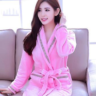 Women Long Bathrobe Flower Flannel Winter Warm Bathrobe Sleepwear Nightwear