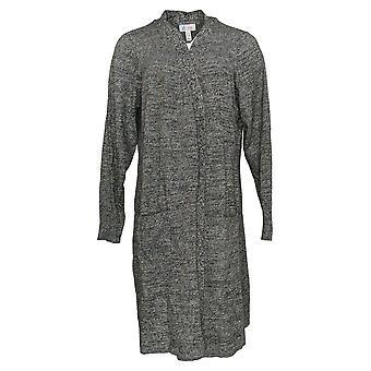 Denim & Co. Kvinder's Sweater marled langærmet Cardigan Sort A381047
