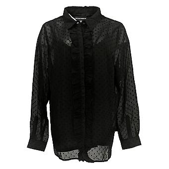 BROOKE SHIELDS Timeless Women's Plus Top Button Front Black A342217