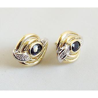Gouden saffier en diamanten oorbellen