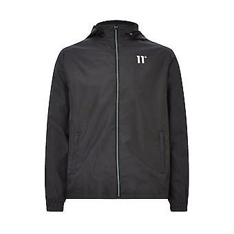 11 Degrees Mens Lightweight Jacket With Hood Astro Full Zip - Black