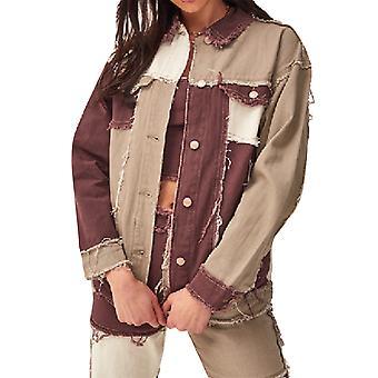 YANGFAN Womens Lapel Stitching Denim Jacket  Fashion Coat Outwear
