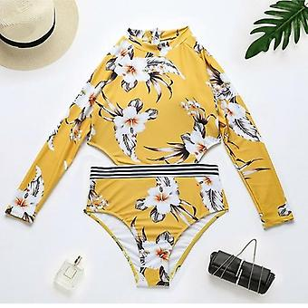 Floral Printed Long Sleeve Surfing Swimwear Bodysuit
