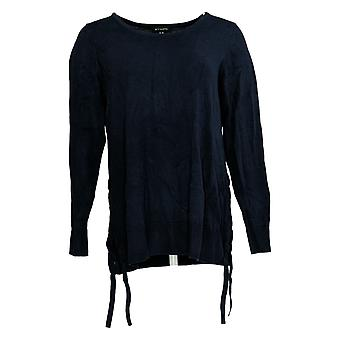 H par Halston Women's Sweater Boyfriend W/ Whipstitch Detail Blue A368023