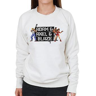 Sega Gatene Av Raseri Adam Axel Og Blaze Pixelated Kvinner&ampos;s Sweatshirt
