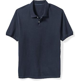 Essentials Men's Big & Tall Cotton Pique Polo Shirt fit by DXL, Navy, ...