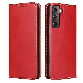 Für Samsung Galaxy S21 + Plus Fall Leder Flip Wallet Folio Cover rot