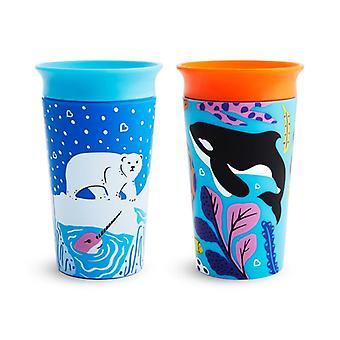 Munchkin miracle 360 sippy cup wild love orca polar 266ml 2pk