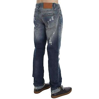 Blue Wash Torn Cotton Stretch Regular Fit Jeans