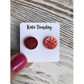 Červený basketbal třpytivé stud akrylové náušnice