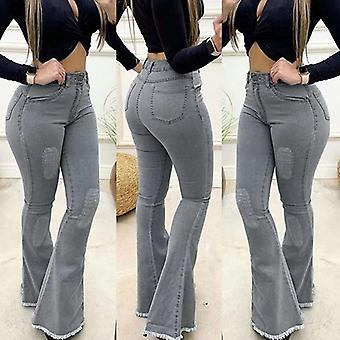 נשים מותניים גבוהות ג'ינס מוצק מכנסי התלקחות דקים