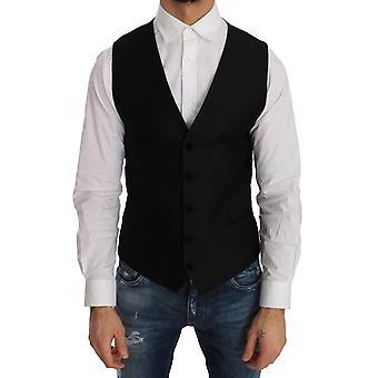 Dolce & Gabbana Black Polka Dot Pattern Vest