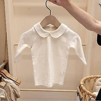 Winter Fashion Baby Doll Collar Cotton Long Sleeve Shirts Blouse Tops