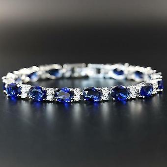 Silver 925 Geometry Gemstones Bracelet Delicate Sapphire