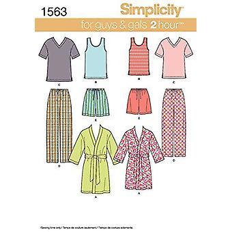 Yksinkertaisuus Ompelu kuvio 1563 MissEs Mens Teens Sleepwear Top Kaapu Housut Koko XS-XL