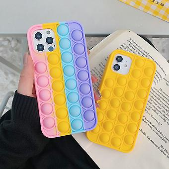 Mode Rainbow Bubble Silikon telefonväska för Iphone 7 8 Plus X XR XS 11 12 Pro Max Cover Reliver Stress Fidget Leksak