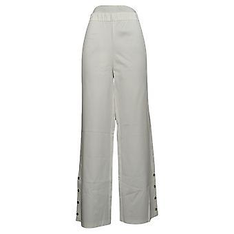 Isaac Mizrahi En vivo! Pantalones para mujer 24/7 Stretch Wide-Leg White A351093