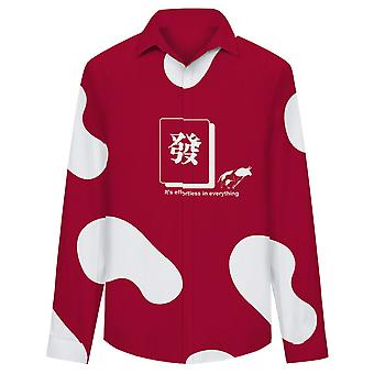 Allthemen Men's Chinese Ox Zodiac Lucky Means Fortune Mahjong Totem Casual Shirt