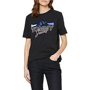 Tommy Jeans Tjw Mountain Flag Tee T-Shirt, Svart (Svart Bbu), 38 (Storlek Tillverkare: X-Small) Kvinna